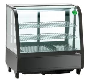 Eine moderne Kühlvitrine in schwarz mit Glas auf jeder Seite.