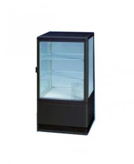 Eine schwarze Kühlvitrine mit 3 Seiten aus Glas. Die Rückseite ist nicht durchsichtig sondern mit weißem Hintergrund. Diese Kühlvitrine wirkt sehr hochwertig und modern.