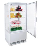 Eine Zorro Kühlvetrine in Weiß mit Lebensmitteln. 4 Seiten sind aus Glas auf einer Seite ist die Türe.
